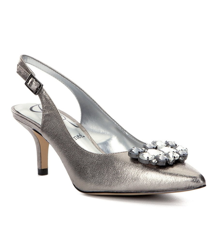 J. Renee Makenzie Jeweled Pointed-Toe Slingback Pumps