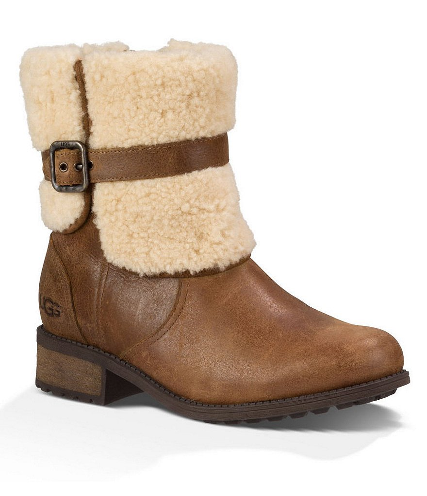 UGG® Blayre II Cold-Weather Sheepskin Cuffed Leather Strap Detail Boots