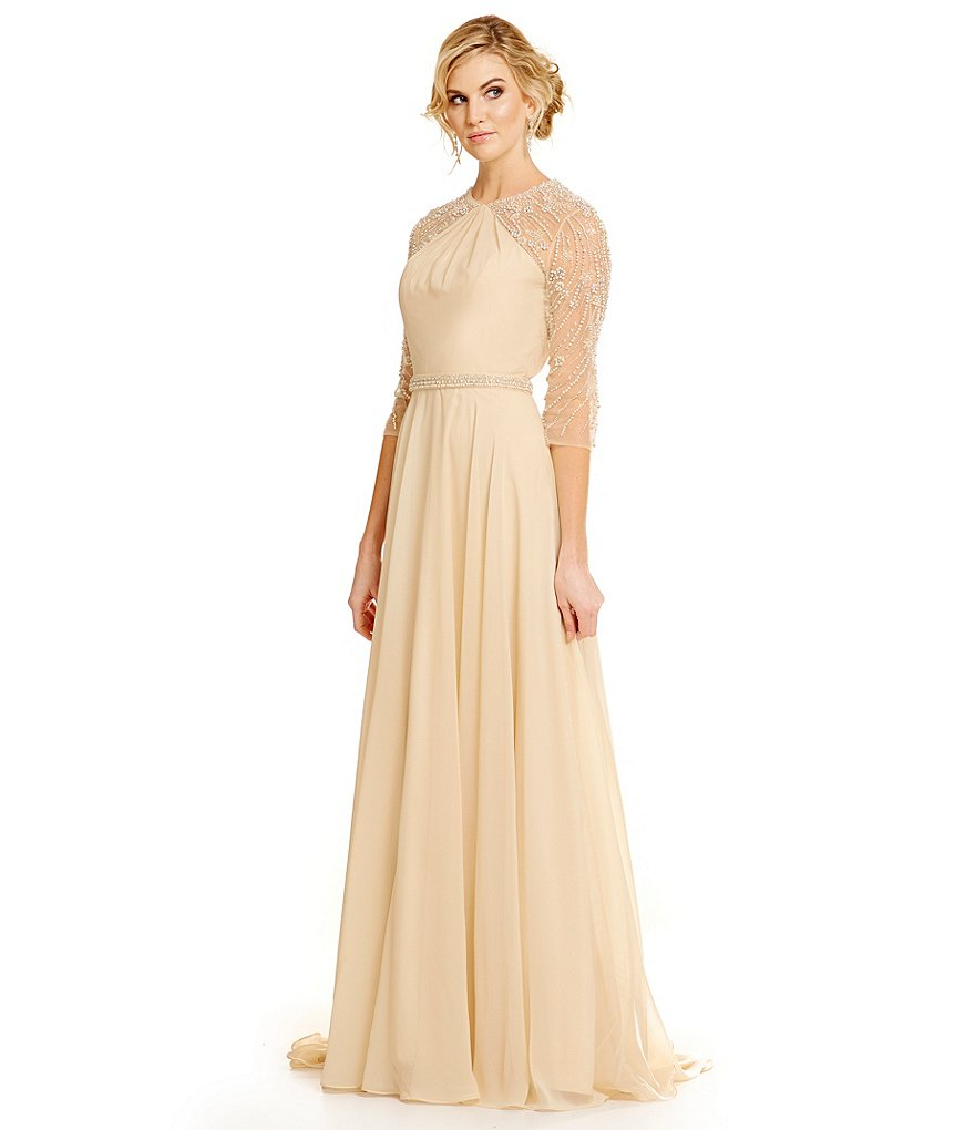 Lasting Moments Embellished Chiffon Gown