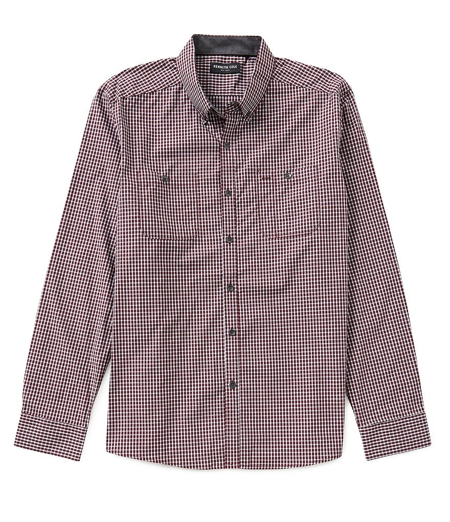 Kenneth Cole New York Long-Sleeve Micro-Check Woven Shirt