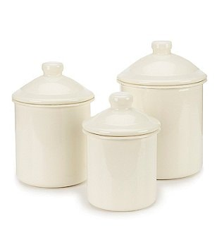 Southern Living Enamel-on-Steel Rolled Edge Canisters, Set of 3