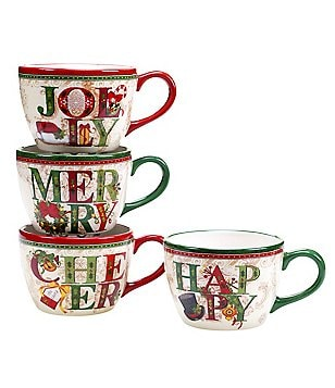Certified International Winter Garden Jumbo Mugs, Set of 4