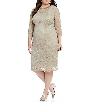 London Times Plus Beaded Neck Lace Sheath Dress