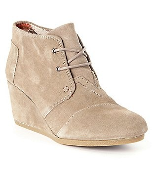 TOMS Desert Suede Lace-Up Wedge Booties
