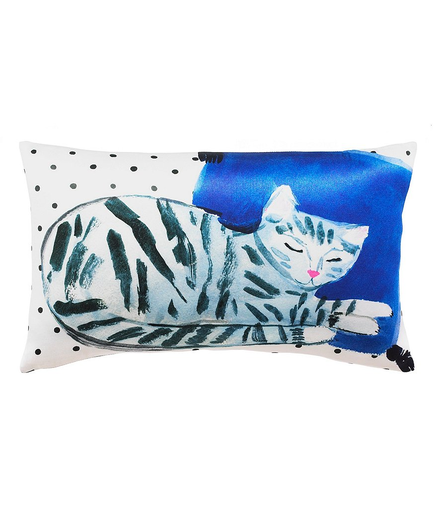 kate spade new york Cat Nap Dotted Silk & Cotton Oblong Feather Pillow