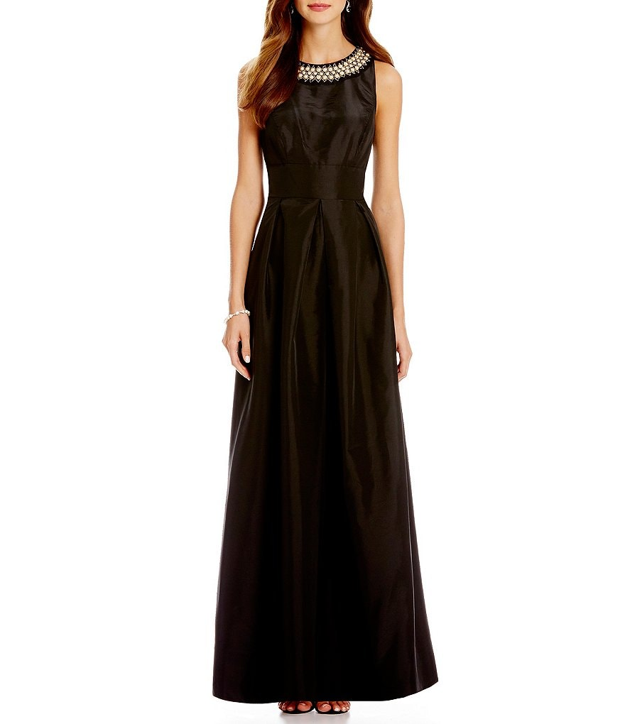 Sangria Beaded Necklace Taffeta Ball Gown