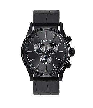 Nixon The Sentry Chrono Leather Strap Watch