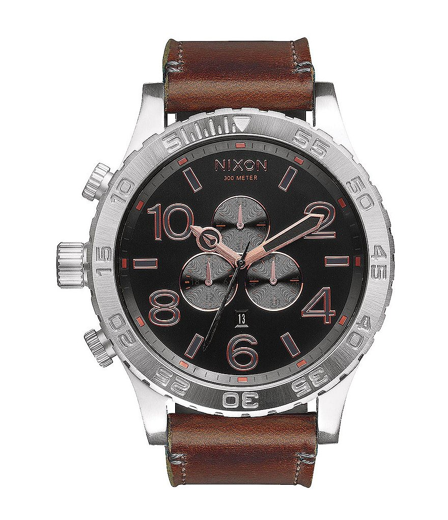 Nixon The 51-30 Chrono Leather Strap Watch