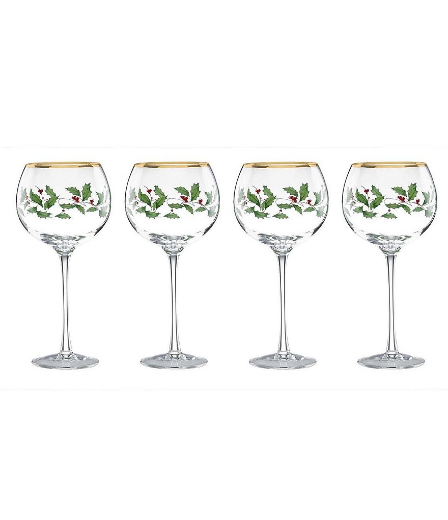 Lenox Holiday Balloon Wine Glasses, Set of 4