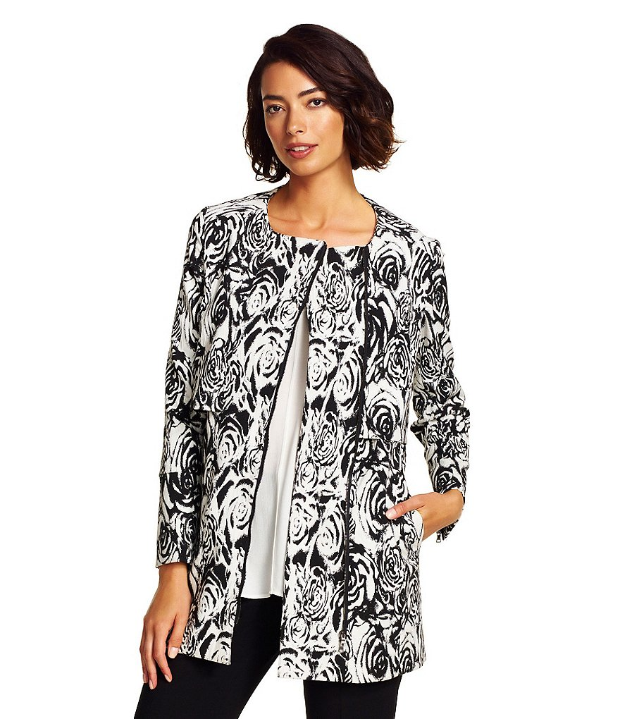 Adrianna Papell Floral Jaquard Asymmetric Side Zip Jacket