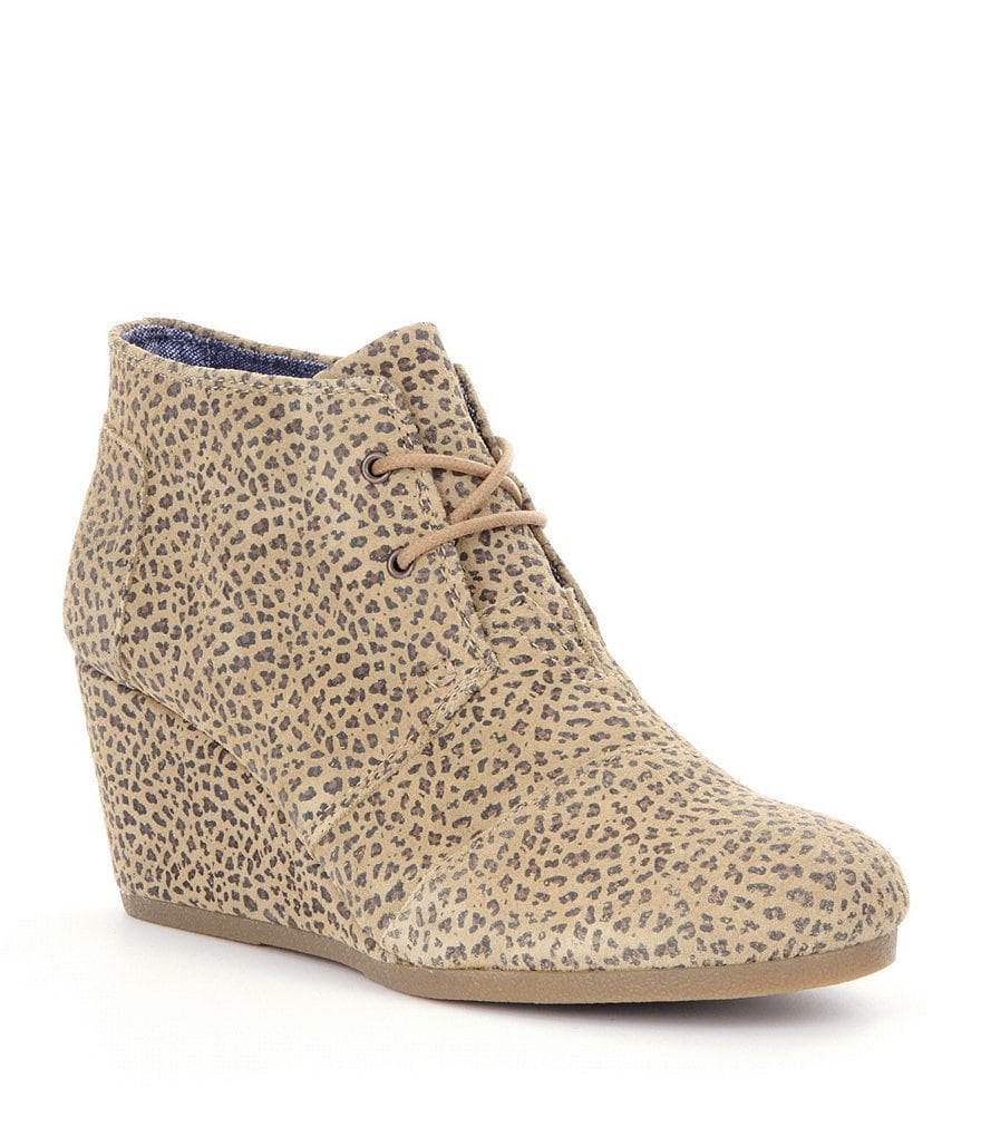 TOMS Desert Cheetah-Print Wedge Booties