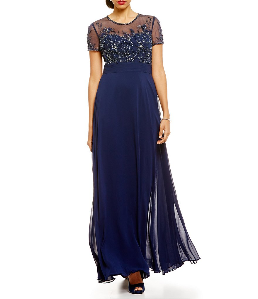 JS Collections Embellished Floral-Lace Gown