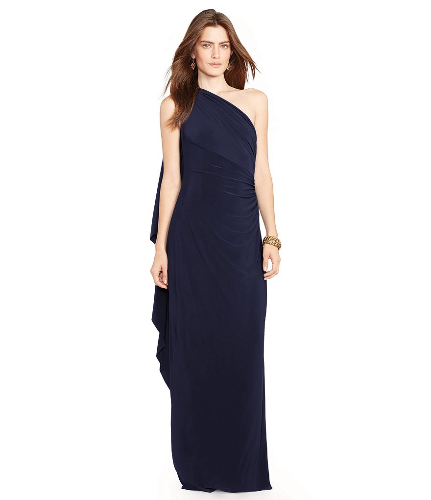 Lauren Ralph Lauren Draped One-Shoulder Gown