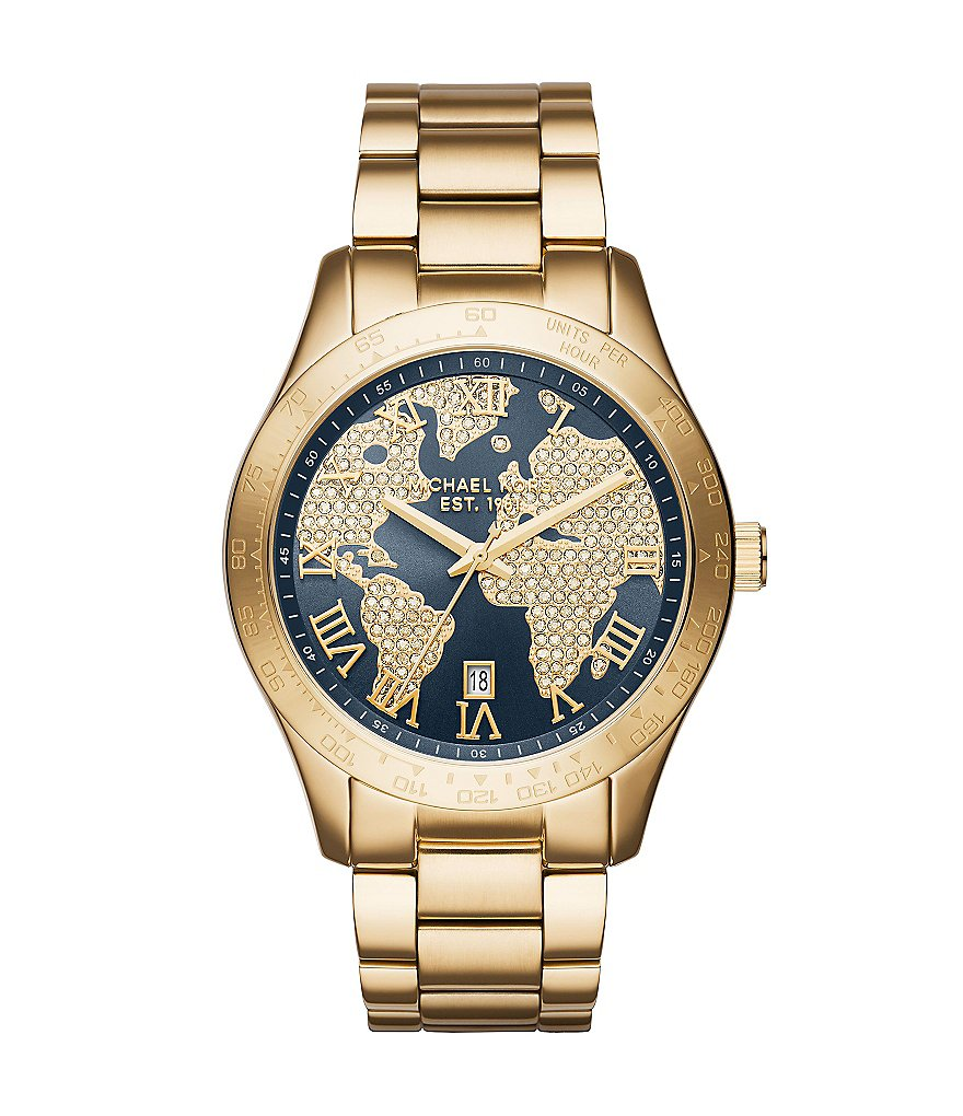 Michael Kors Layton Watch with Pavé Globe Dial