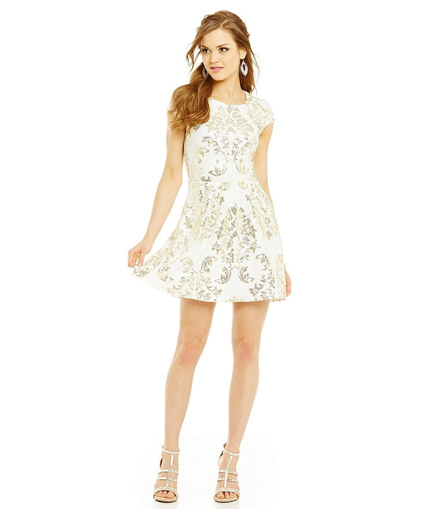 B. Darlin Sequin Scroll Print Illusion Back Skater Dress