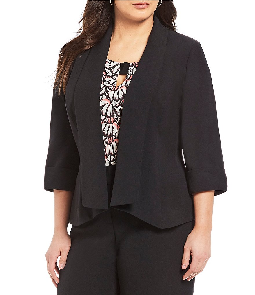 Kasper Plus Crepe Open Front Jacket