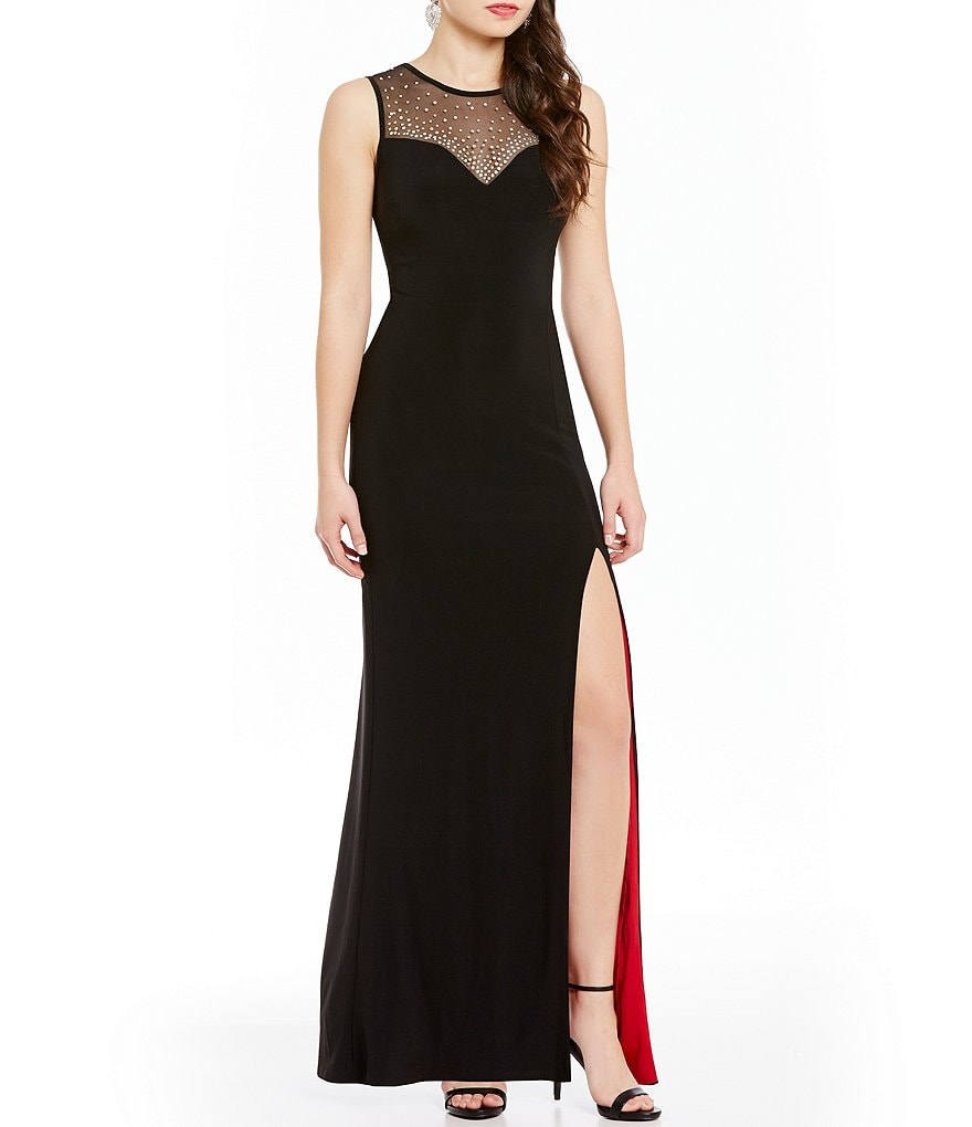 B. Darlin Beaded Illusion Yoke Inner Beauty Long Dress