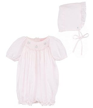 Petit Ami Baby Girls Preemie-Newborn Smocked Bubble Romper & Bonnet Set