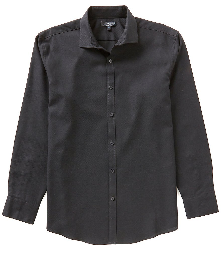 Murano Wardrobe Essentials Ultimate Modern Comfort Stretch Long-Sleeve Spread-Collar Textured Sportshirt