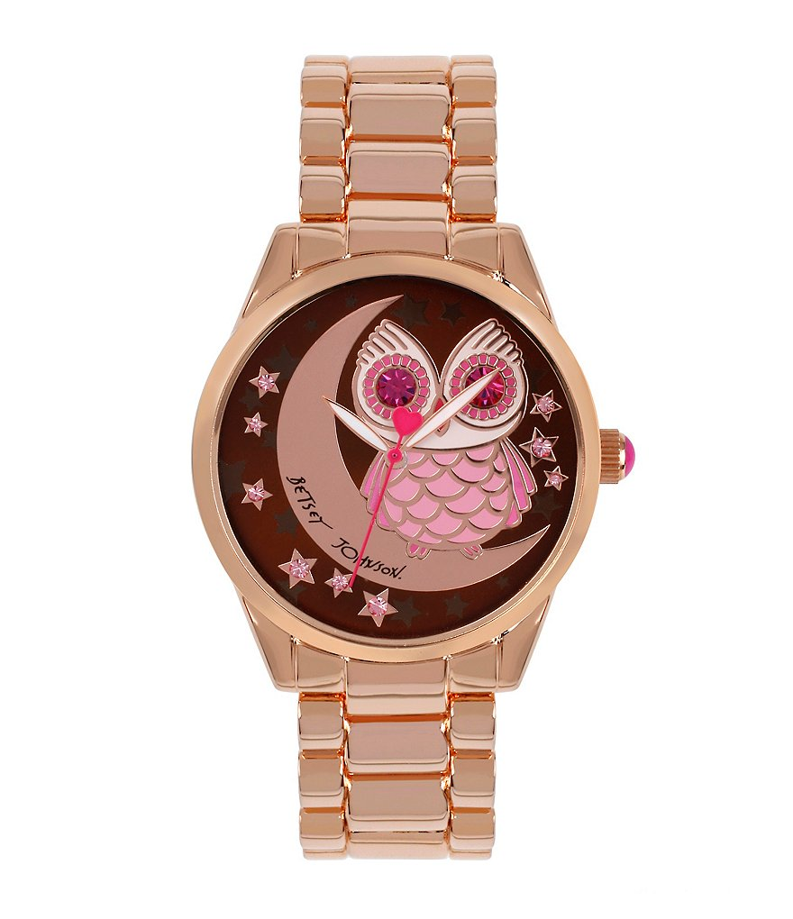 Betsey Johnson Owl and Moon 3 Hand Bracelet Watch