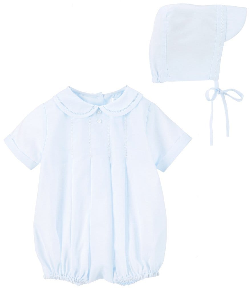 Petit Ami Baby Boys Preemie-Newborn Pleated Shortall & Hat