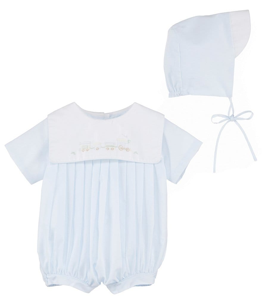 Petit Ami Baby Boys Newborn-3 Months Train Embroidered Shortalls