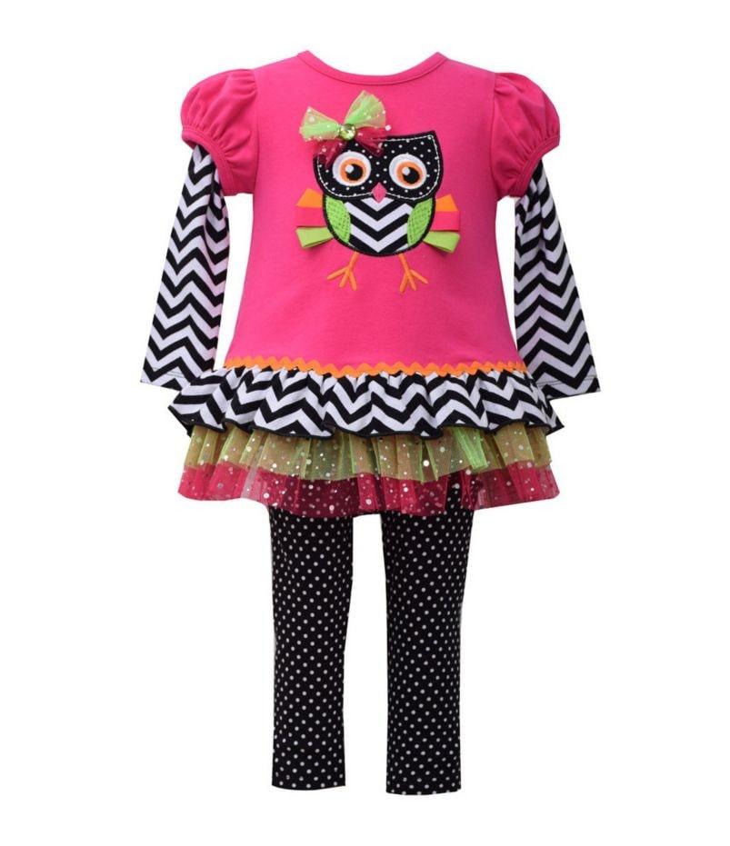 Bonnie Baby Newborn-24 Months Owl Top & Printed Legging Set