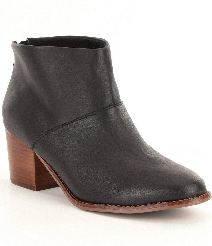 TOMS Leila Leather Back Zip Block Heel Booties