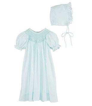 Petit Ami Baby Girls Newborn-3 Months Smocked Gown & Bonnet Set