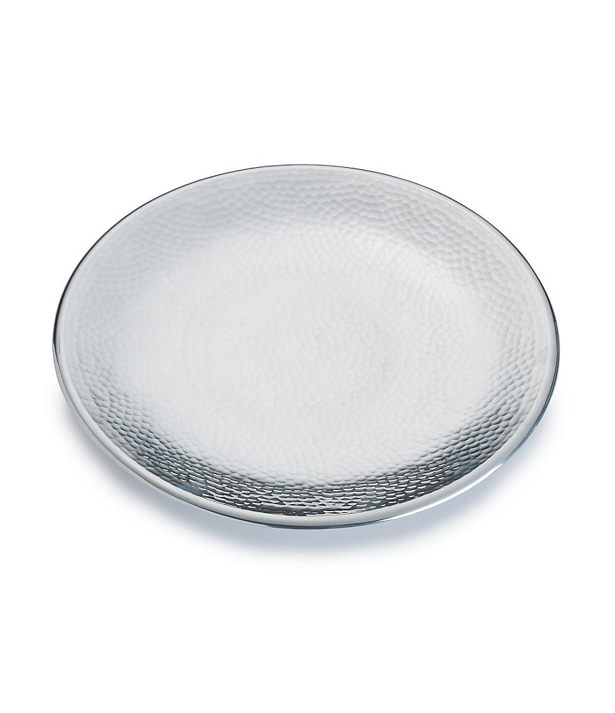 Towle Silversmiths Hammered Metal Footed Round Tray