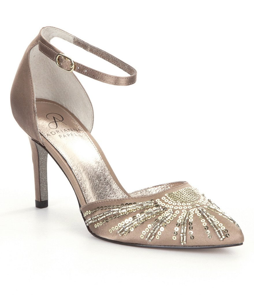 Adrianna Papell Hollis Satin Sequin Pointed Toe Ankle Strap Pumps