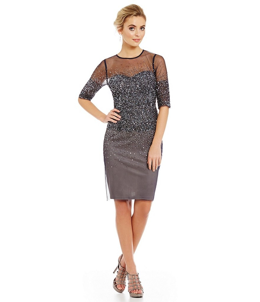 Adrianna Papell 3/4 Sleeve Beaded Cocktail Dress