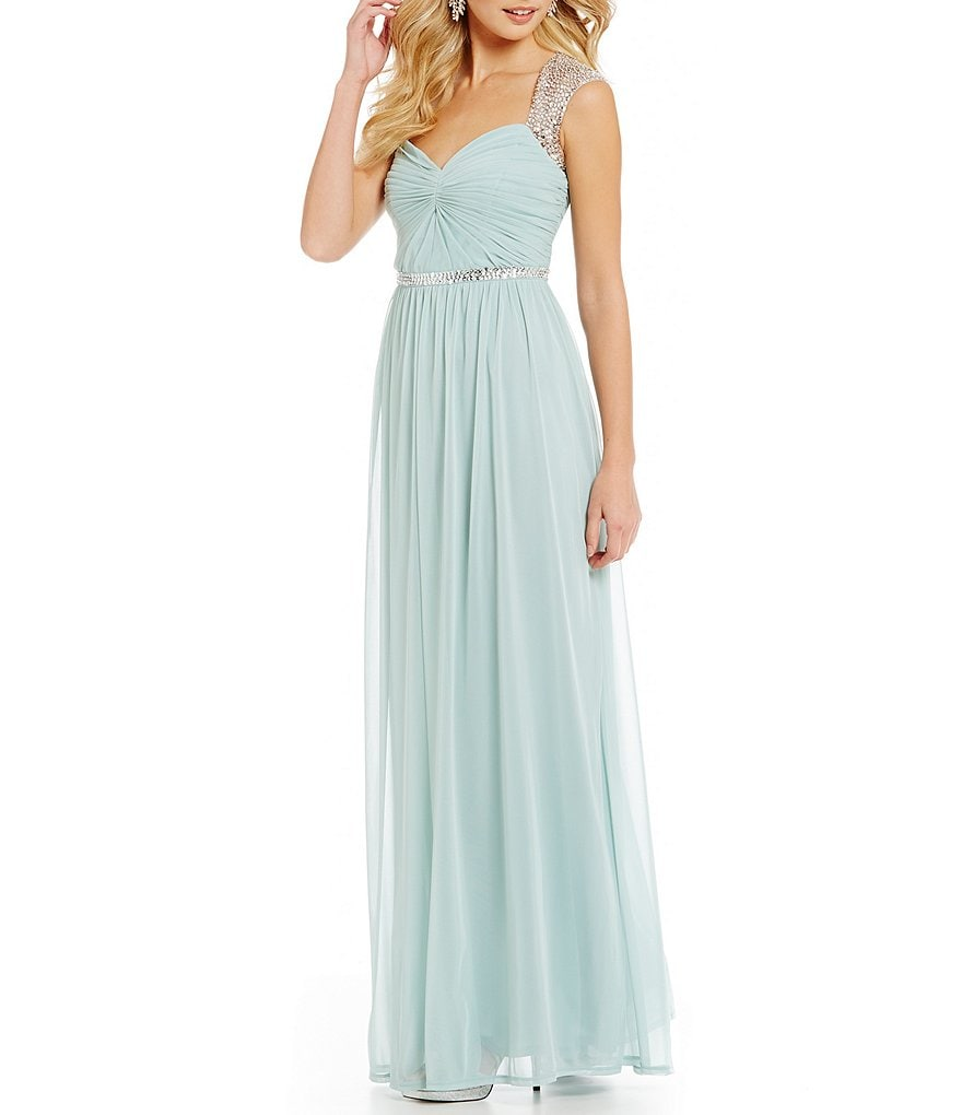 Adrianna Papell Sequined Cap-Sleeve Gown