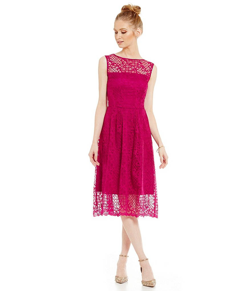 Adrianna Papell Illusion Neckline Lace Fit-and-Flare Dress