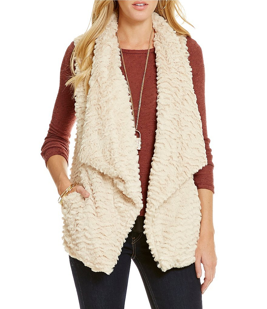Jolt Textured Faux-Fur Vest