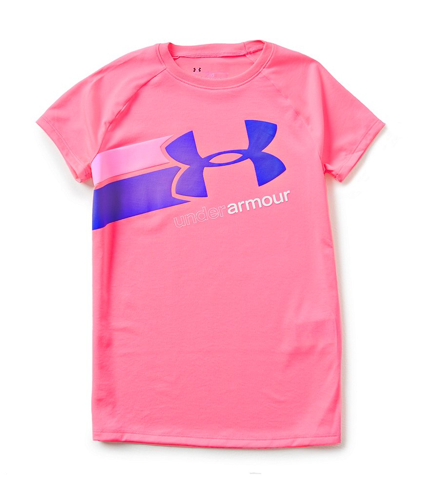 Under Armour Big Girls 7-16 Fast Lane Big Logo Tech Short-Sleeve Tee