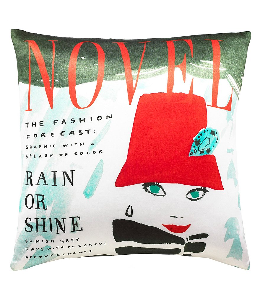 kate spade new york Rain or Shine Magazine Cover Square Pillow