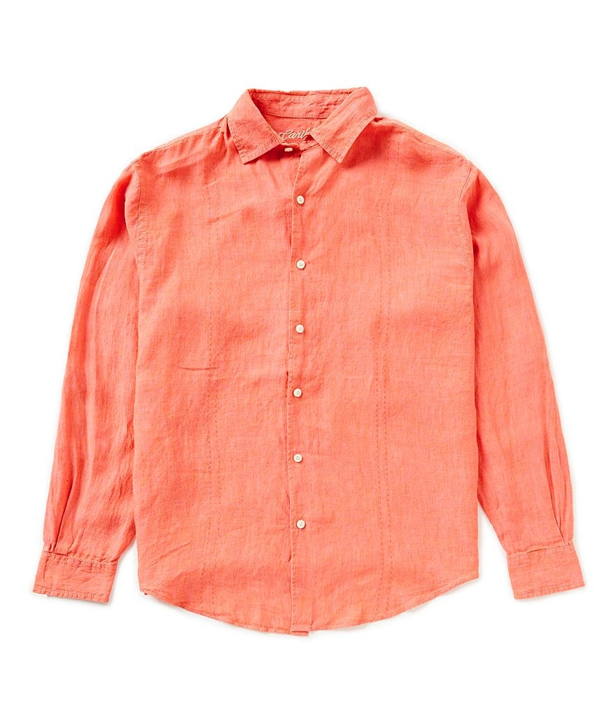 Caribbean Long sleeve Solid Linen Woven Shirt