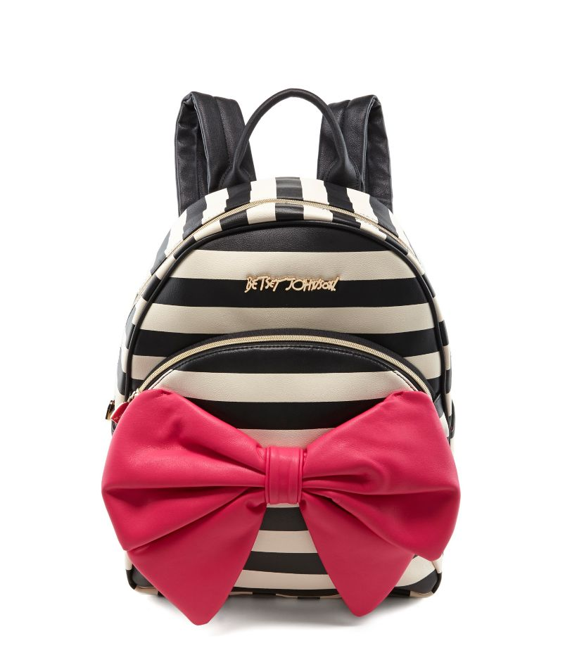 Betsey Johnson Bow Tails Striped Backpack