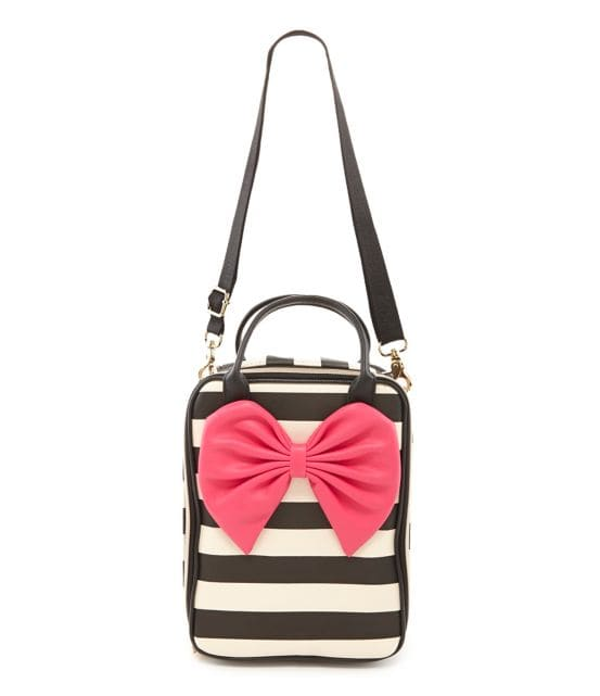 Betsey Johnson Bow Tails Striped Lunch Tote