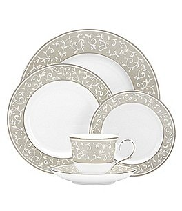 Lenox Opal Innocence Dune Vine & Pearl Platinum Bone China 5-Piece Place Setting Image