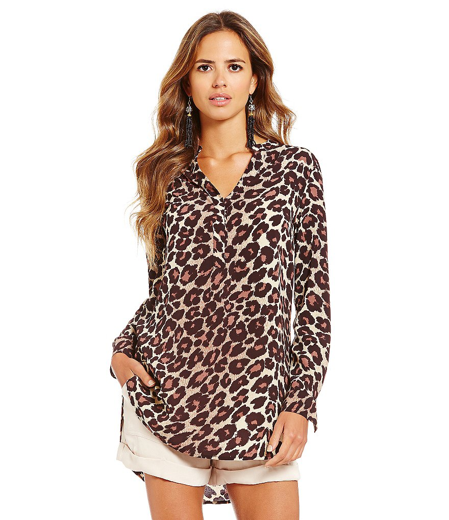 Gianni Bini Wyatt Leopard-Print Shirttail Tunic Blouse