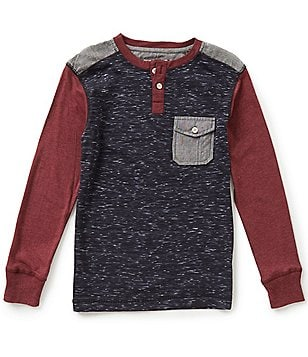 First Wave Big Boys 8-20 Color Block Henley Shirt