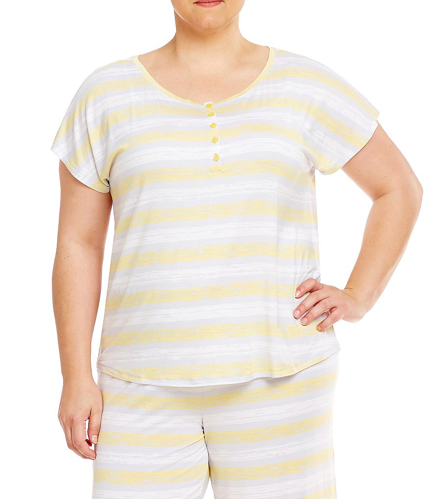 Sleep Sense Plus Short-Sleeve Henley Striped Top