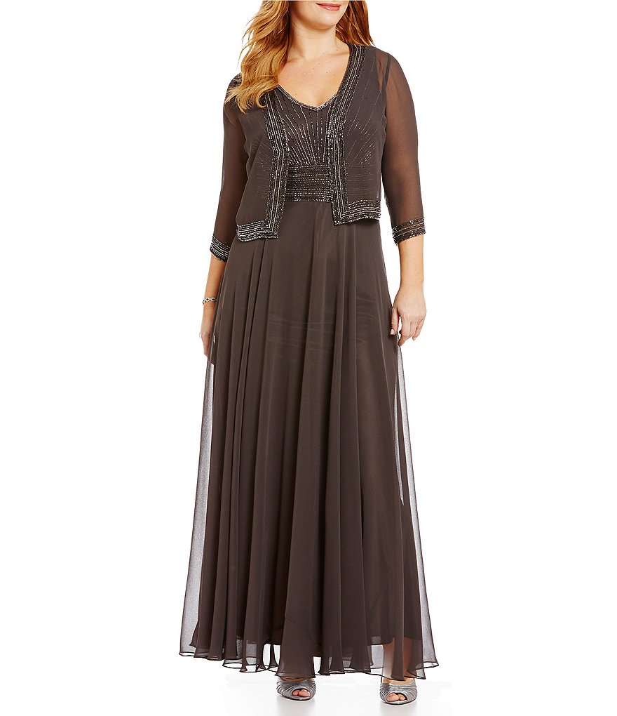 Jkara Plus Beaded Chiffon Jacket Gown