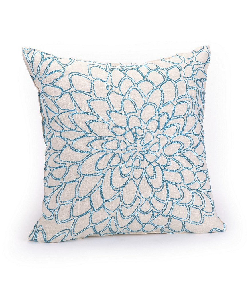 Trina Turk Catalina Floral-Embroidered Square Pillow