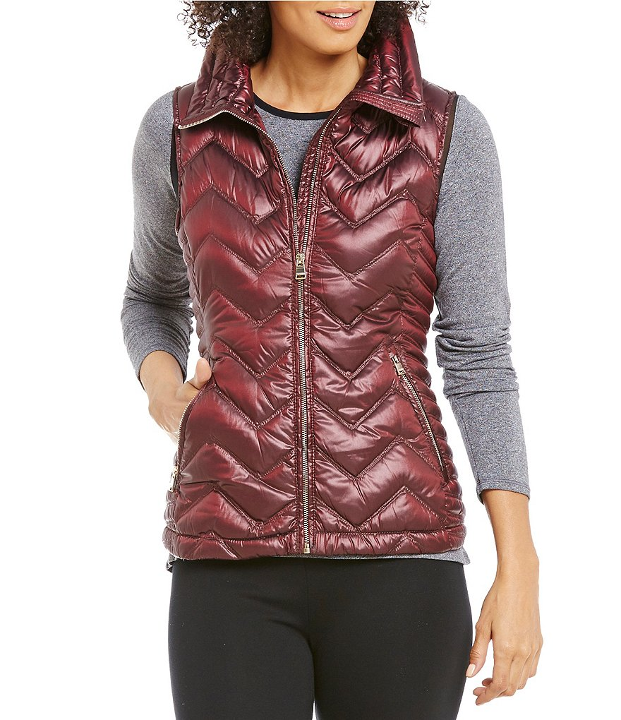 Calvin Klein Performance Chevron Quilted Down-Filled Mock Neck Vest