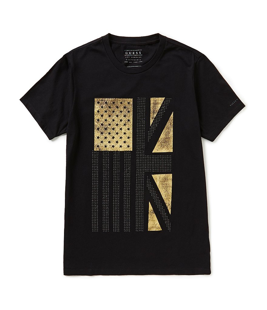 Guess Short-Sleeve Studded Flag Graphic T-Shirt