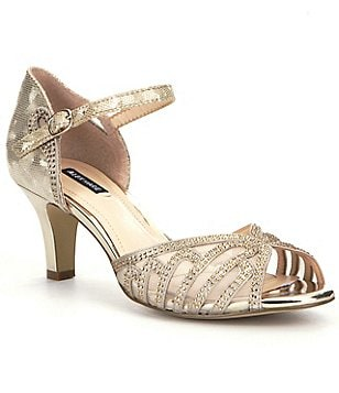 Alex Marie Maryssa Metallic Suede & Satin Jeweled Mesh Mary Jane d´Orsay Dress Sandals