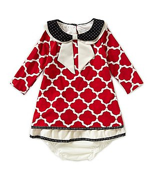 Counting Daisies 12-24 Months Double-Collar Tile-Printed Christmas Dress